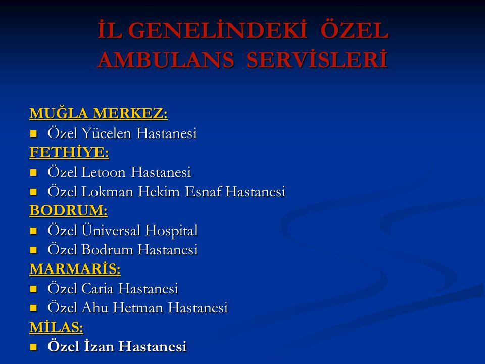 İL GENELİNDEKİ ÖZEL AMBULANS SERVİSLERİ