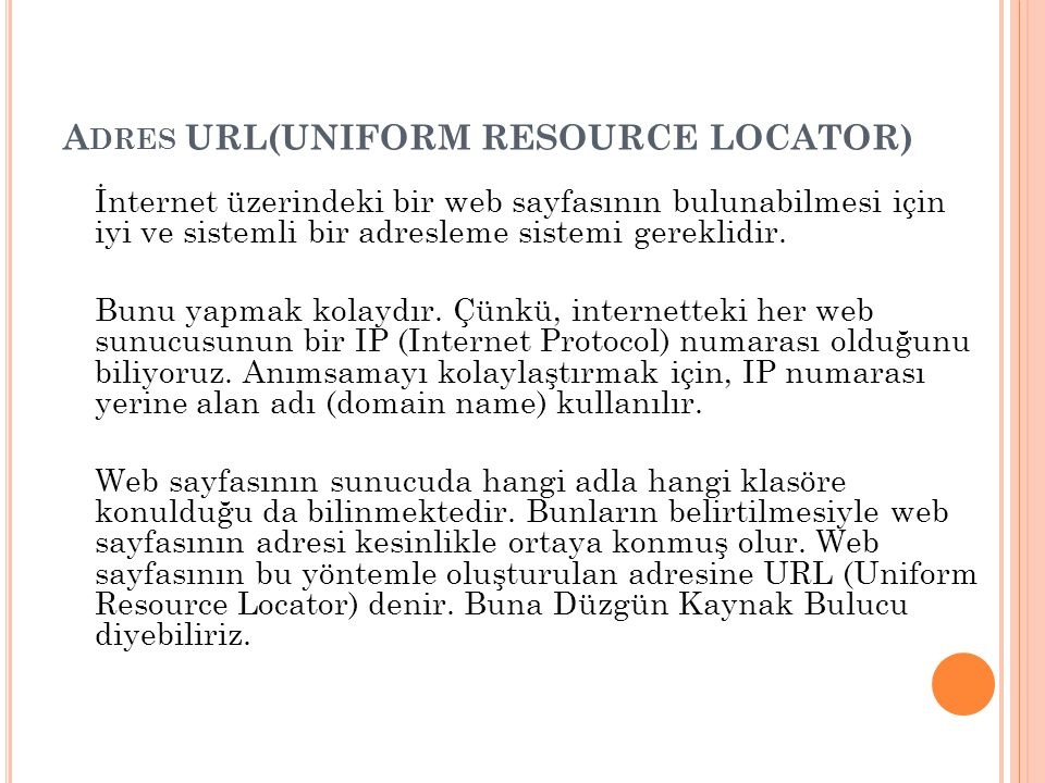Adres URL(UNIFORM RESOURCE LOCATOR)