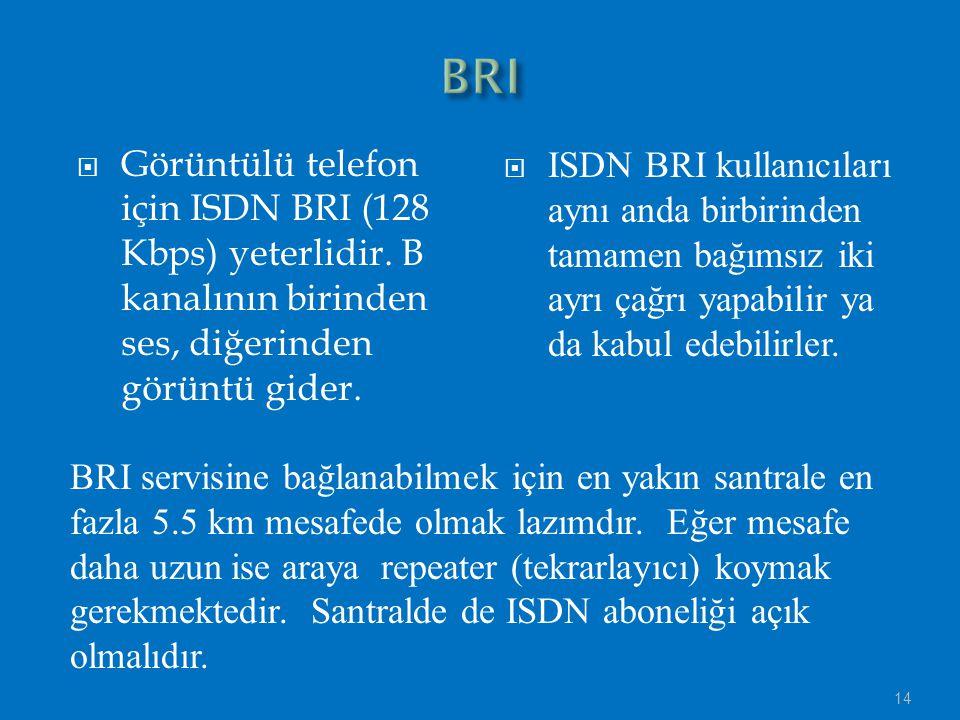 BRI Görüntülü telefon için ISDN BRI (128 Kbps) yeterlidir. B kanalının birinden ses, diğerinden görüntü gider.