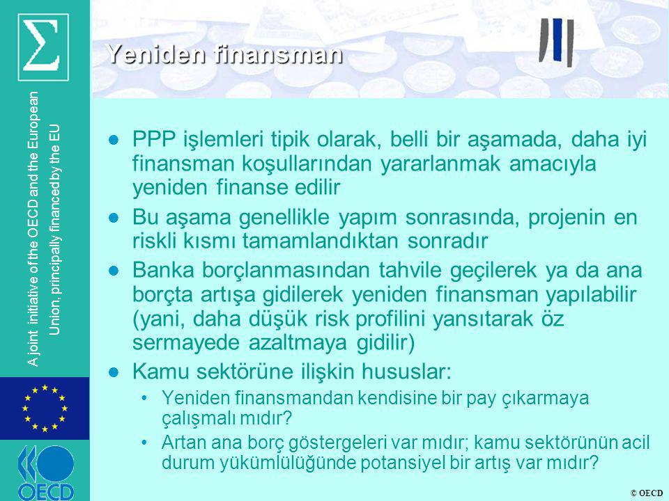 Yeniden finansman PPP işlemleri tipik olarak, belli bir aşamada, daha iyi finansman koşullarından yararlanmak amacıyla yeniden finanse edilir.