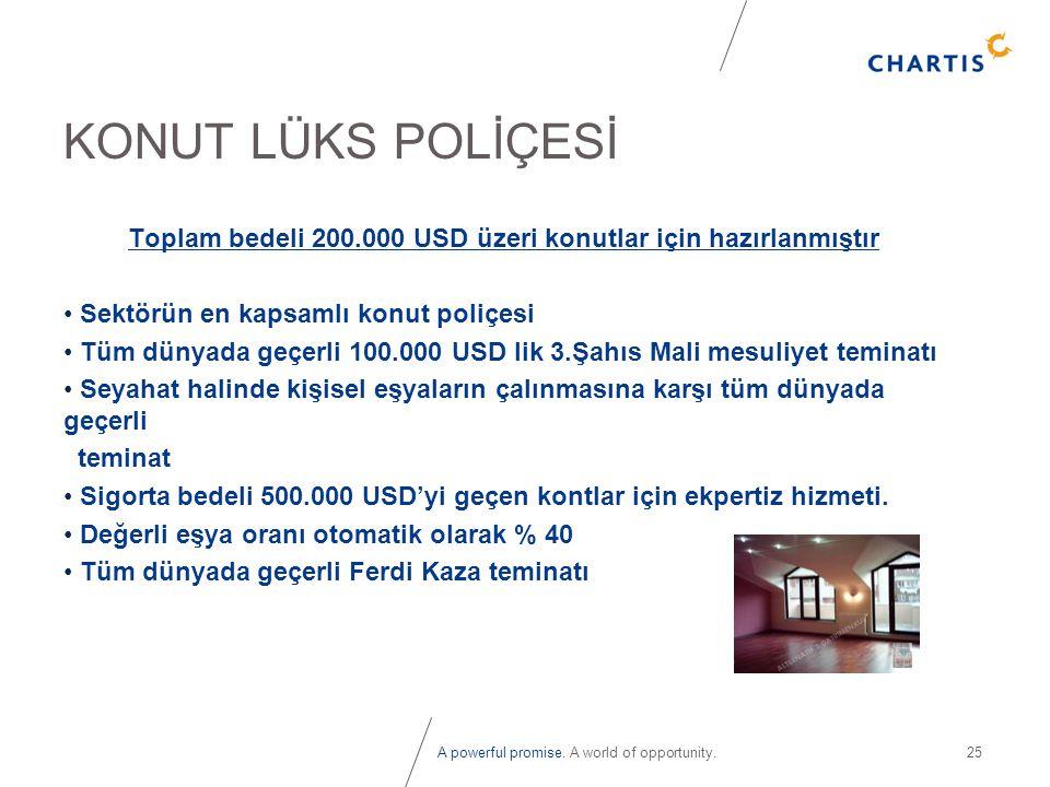 Toplam bedeli 200.000 USD üzeri konutlar için hazırlanmıştır