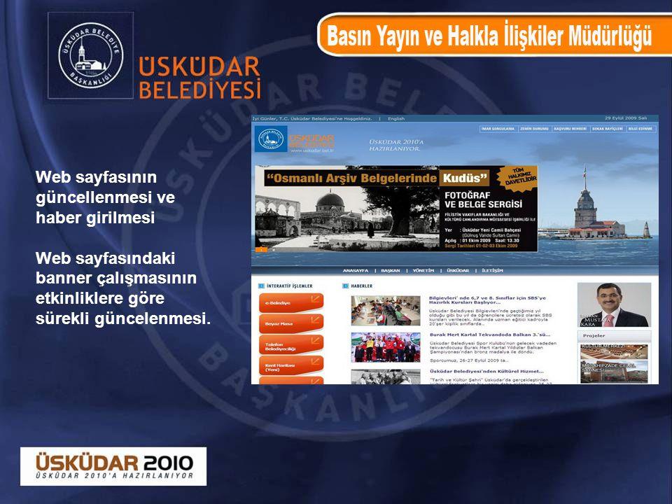 Web sayfasının güncellenmesi ve. haber girilmesi.
