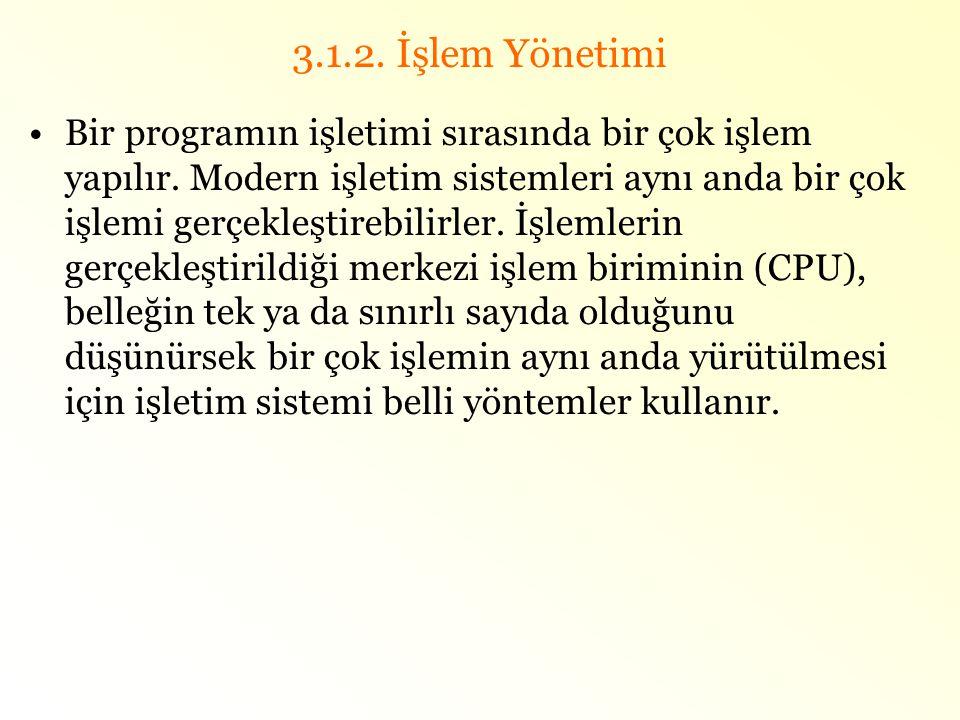 3.1.2. İşlem Yönetimi