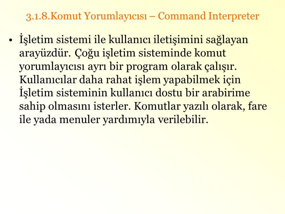 3.1.8.Komut Yorumlayıcısı – Command Interpreter