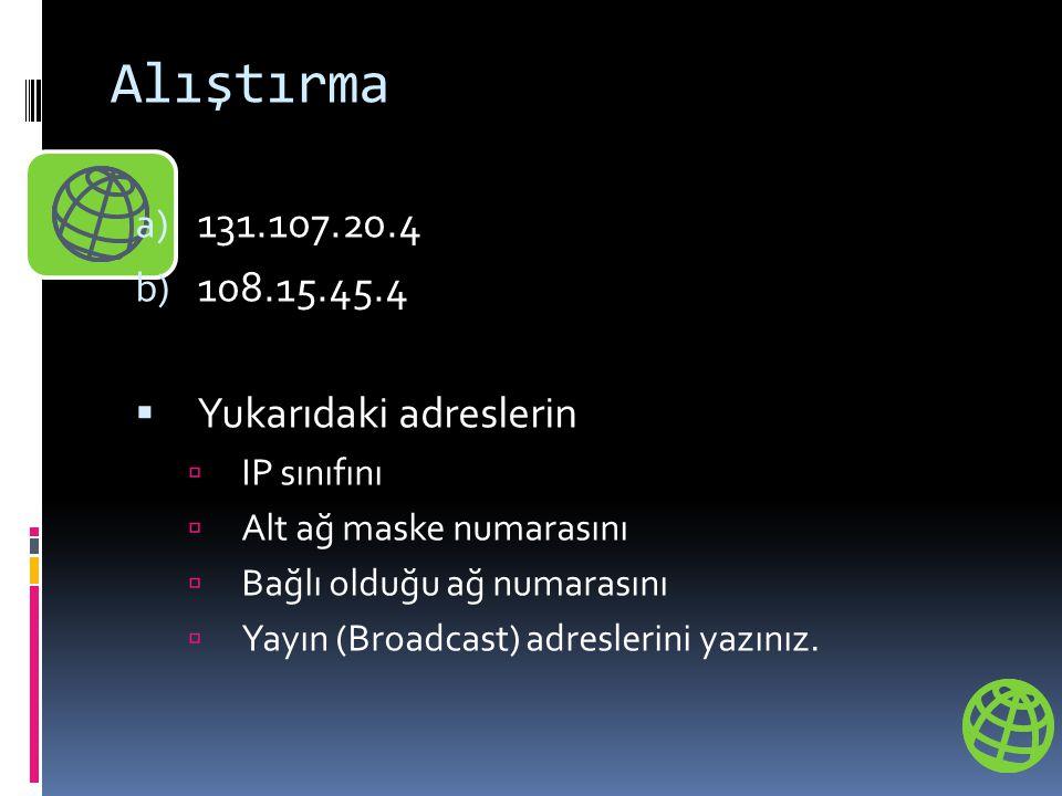 Alıştırma 131.107.20.4 108.15.45.4 Yukarıdaki adreslerin IP sınıfını