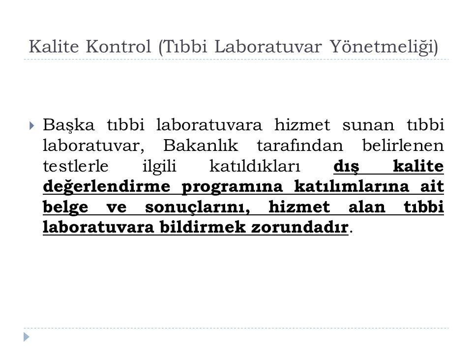 Kalite Kontrol (Tıbbi Laboratuvar Yönetmeliği)