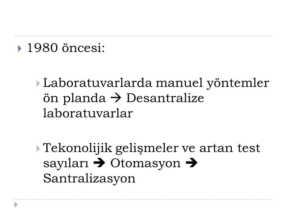 1980 öncesi: Laboratuvarlarda manuel yöntemler ön planda  Desantralize laboratuvarlar.