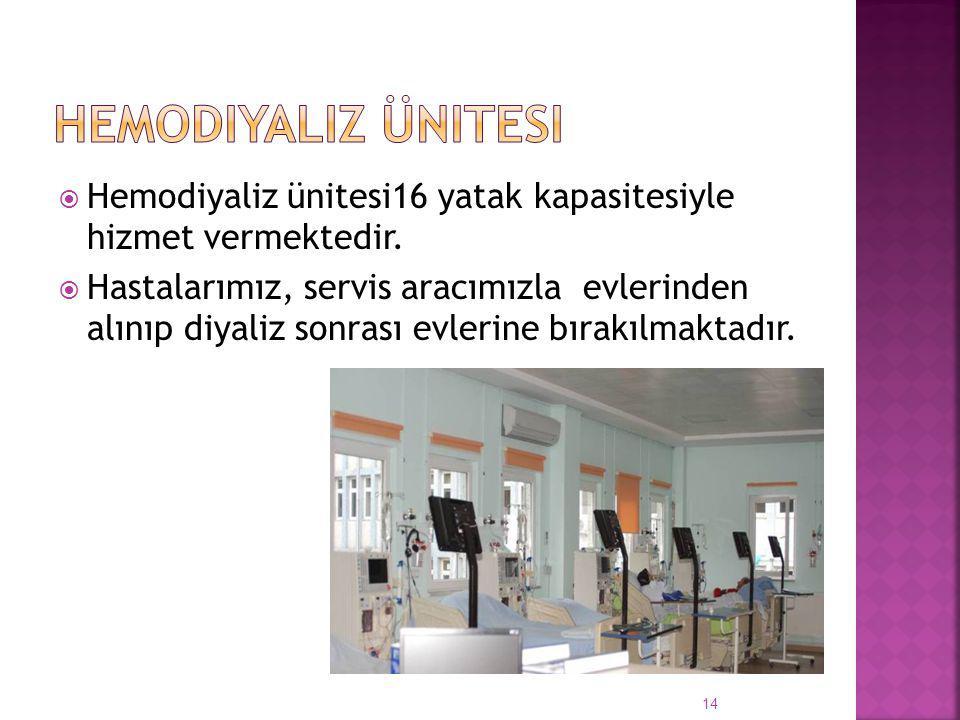Hemodiyaliz ünitesi Hemodiyaliz ünitesi16 yatak kapasitesiyle hizmet vermektedir.