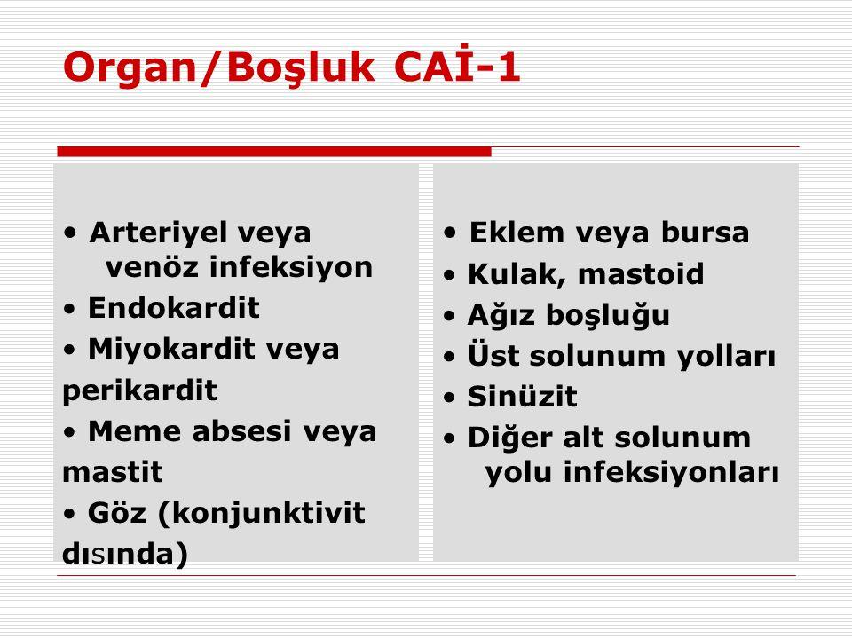 Organ/Boşluk CAİ-1 • Arteriyel veya venöz infeksiyon