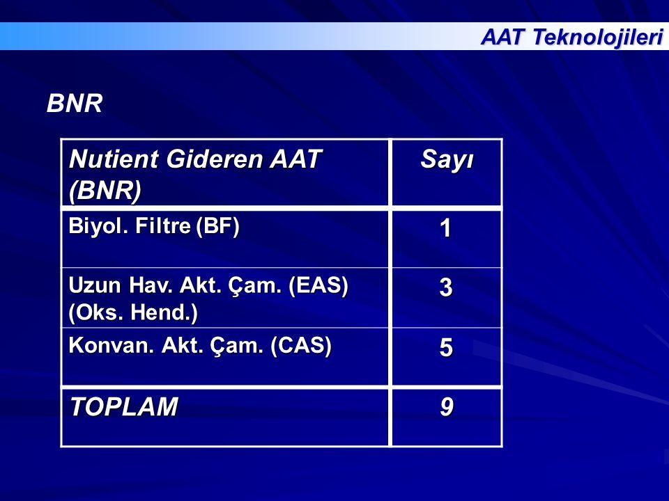 Nutient Gideren AAT (BNR) Sayı 1 3 5 TOPLAM 9