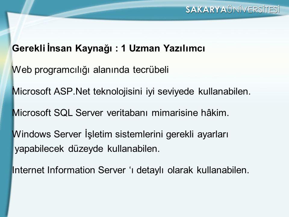 Gerekli İnsan Kaynağı : 1 Uzman Yazılımcı Web programcılığı alanında tecrübeli , Microsoft ASP.Net teknolojisini iyi seviyede kullanabilen.