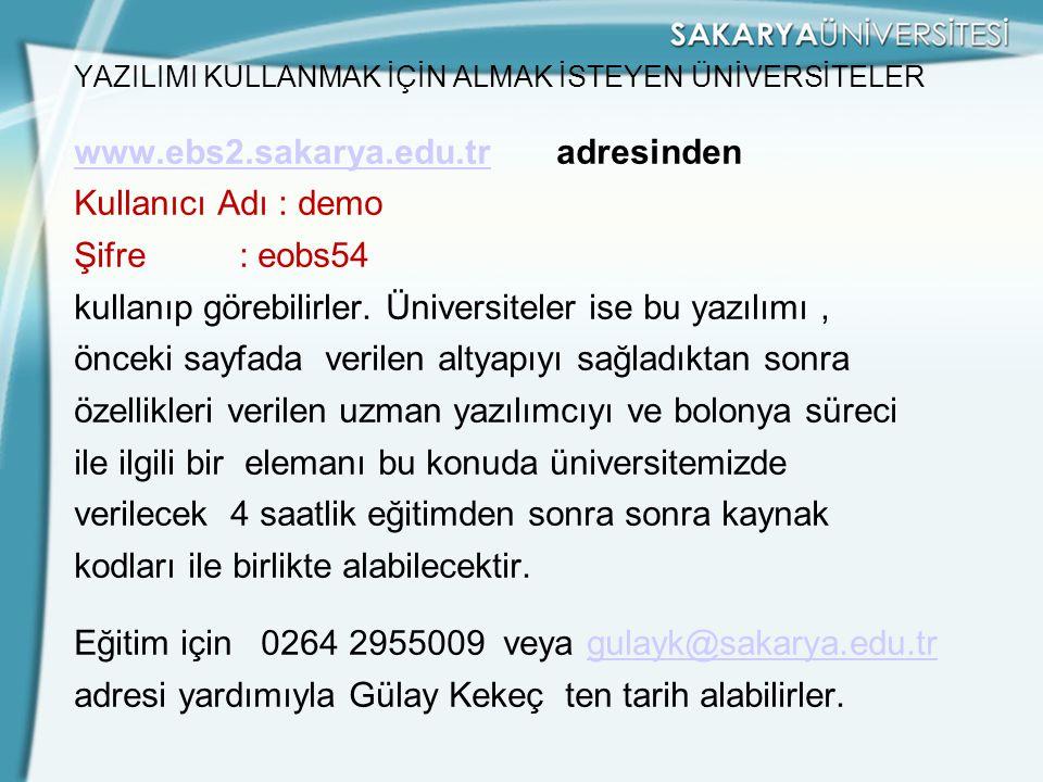 YAZILIMI KULLANMAK İÇİN ALMAK İSTEYEN ÜNİVERSİTELER www. ebs2. sakarya