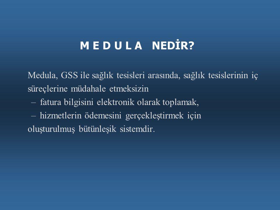 M E D U L A NEDİR Medula, GSS ile sağlık tesisleri arasında, sağlık tesislerinin iç. süreçlerine müdahale etmeksizin.