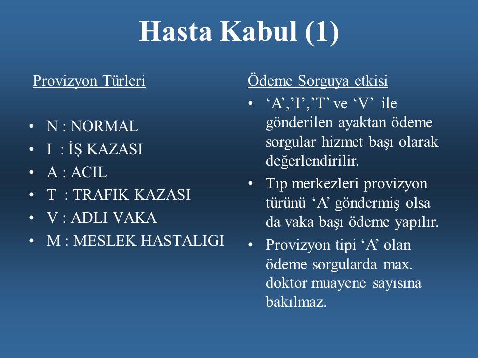 Hasta Kabul (1) Provizyon Türleri N : NORMAL I : İŞ KAZASI A : ACIL