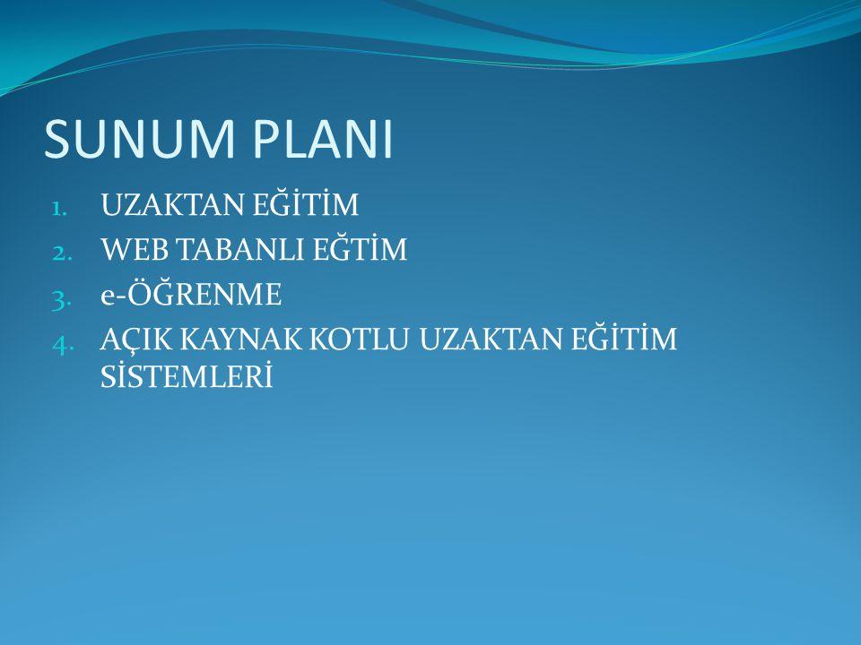 SUNUM PLANI UZAKTAN EĞİTİM WEB TABANLI EĞTİM e-ÖĞRENME