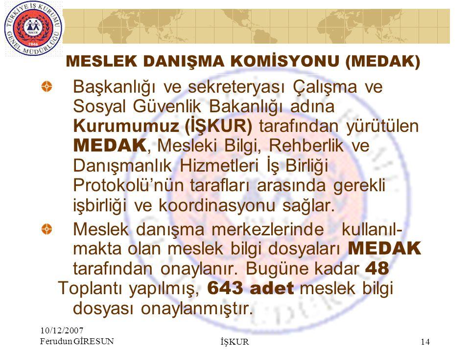 MESLEK DANIŞMA KOMİSYONU (MEDAK)