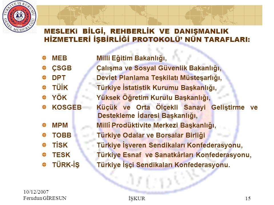 MEB Milli Eğitim Bakanlığı, ÇSGB Çalışma ve Sosyal Güvenlik Bakanlığı,