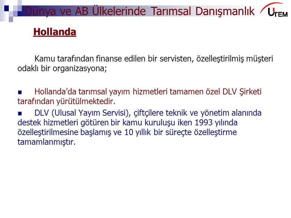 Hollanda Kamu tarafından finanse edilen bir servisten, özelleştirilmiş müşteri odaklı bir organizasyona;