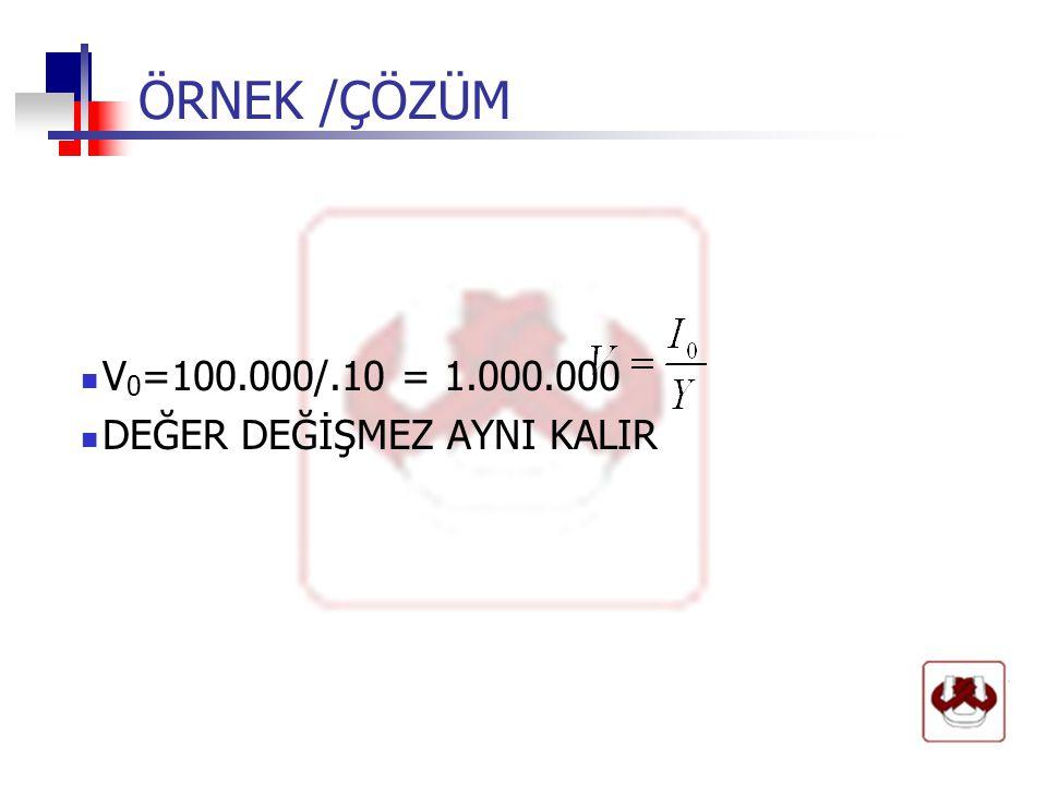 ÖRNEK /ÇÖZÜM V0=100.000/.10 = 1.000.000 DEĞER DEĞİŞMEZ AYNI KALIR