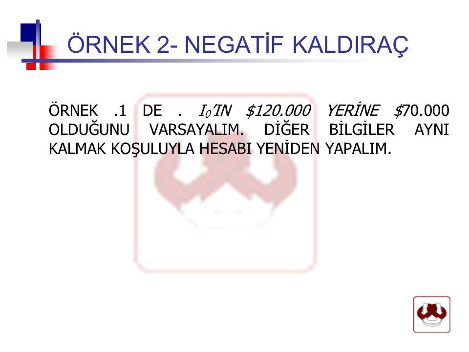 ÖRNEK 2- NEGATİF KALDIRAÇ