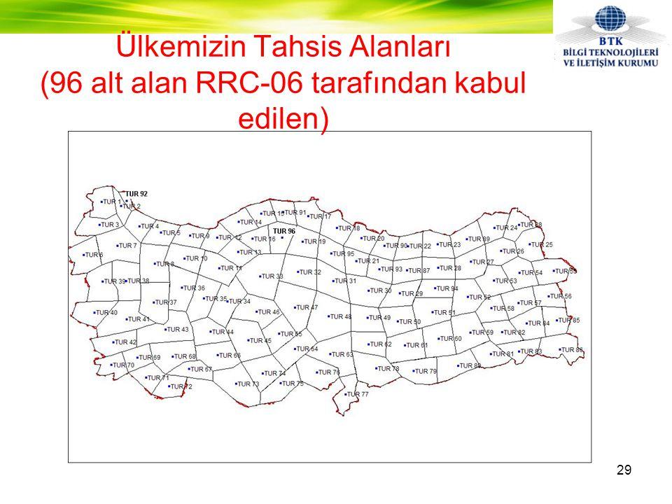 Ülkemizin Tahsis Alanları (96 alt alan RRC-06 tarafından kabul edilen)