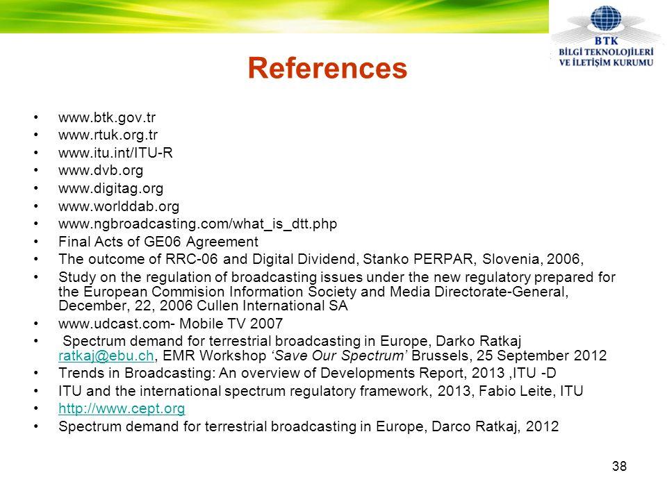 References www.btk.gov.tr www.rtuk.org.tr www.itu.int/ITU-R