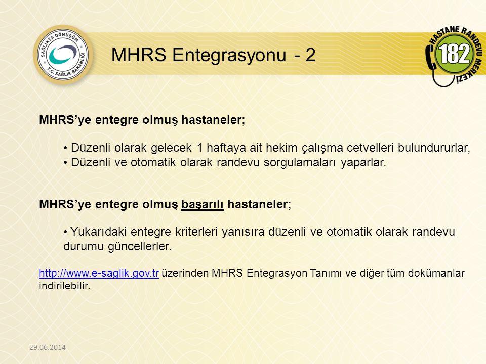 MHRS Entegrasyonu - 2 MHRS'ye entegre olmuş hastaneler;