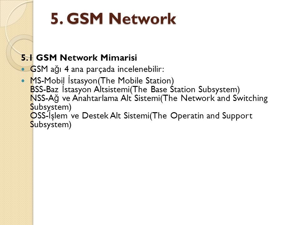 5. GSM Network 5.1 GSM Network Mimarisi