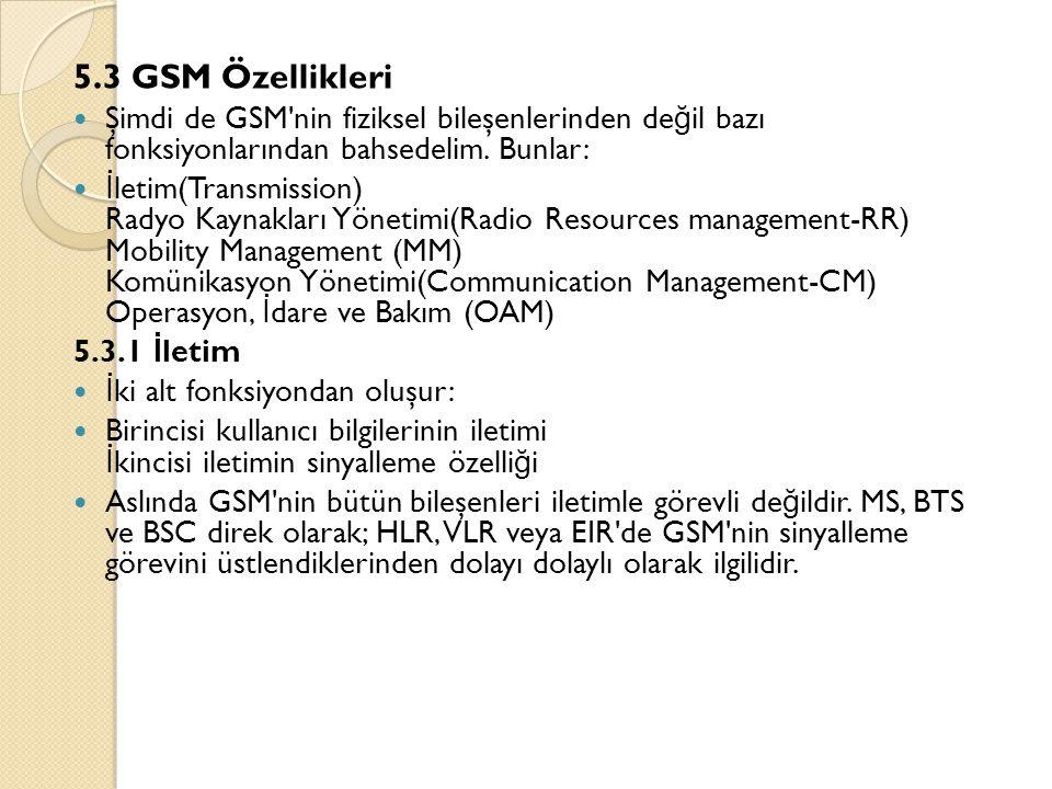5.3 GSM Özellikleri Şimdi de GSM nin fiziksel bileşenlerinden değil bazı fonksiyonlarından bahsedelim. Bunlar: