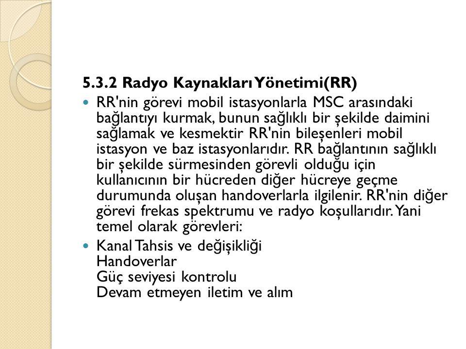 5.3.2 Radyo Kaynakları Yönetimi(RR)