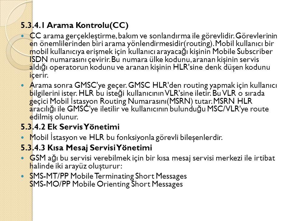 5.3.4.1 Arama Kontrolu(CC)