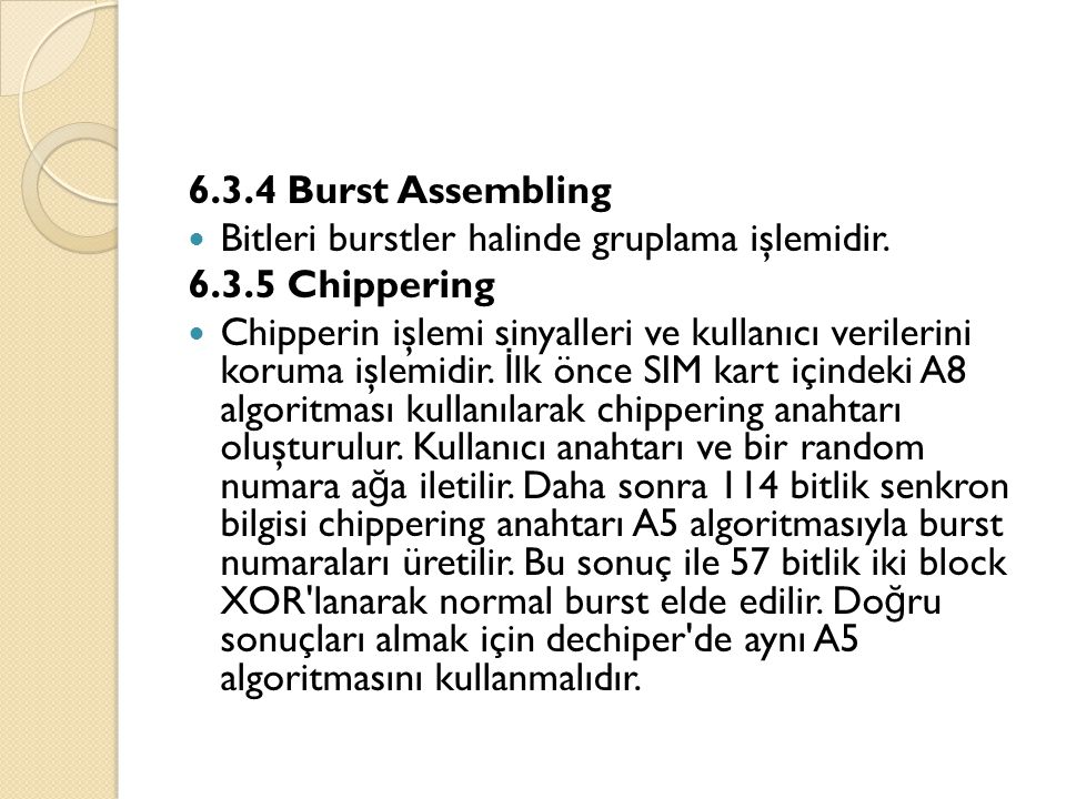 6.3.4 Burst Assembling Bitleri burstler halinde gruplama işlemidir. 6.3.5 Chippering.
