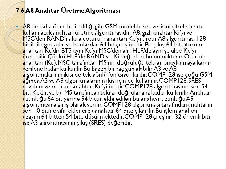 7.6 A8 Anahtar Üretme Algoritması