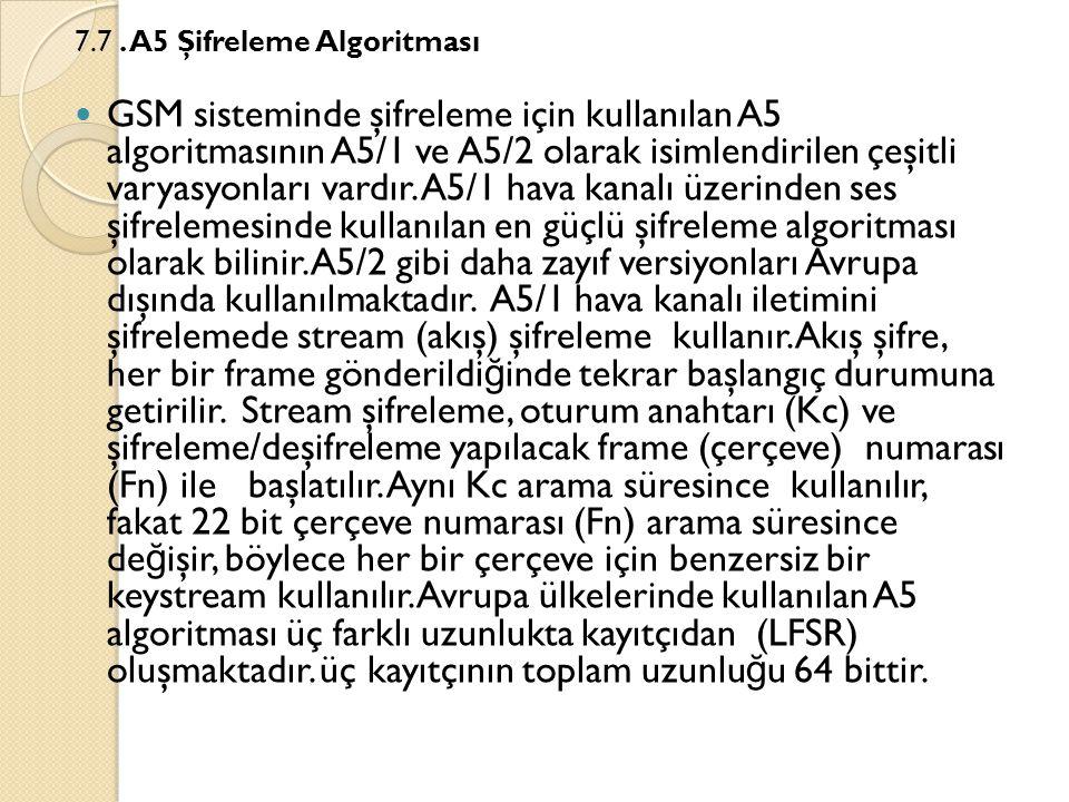 7.7 . A5 Şifreleme Algoritması