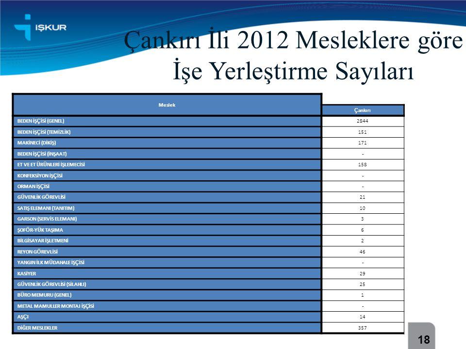 Çankırı İli 2012 Mesleklere göre İşe Yerleştirme Sayıları