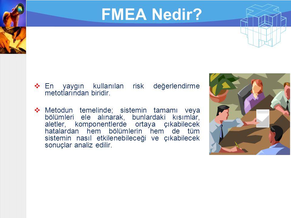 FMEA Nedir En yaygın kullanılan risk değerlendirme metotlarından biridir.