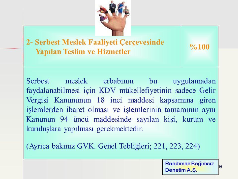 2- Serbest Meslek Faaliyeti Çerçevesinde Yapılan Teslim ve Hizmetler