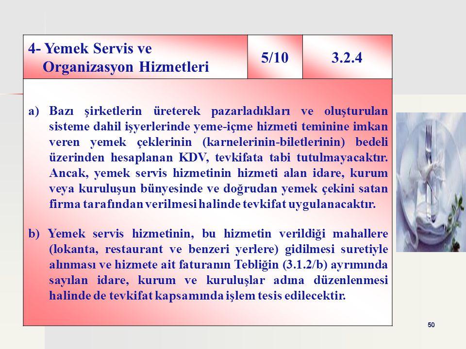 4- Yemek Servis ve Organizasyon Hizmetleri 5/10 3.2.4