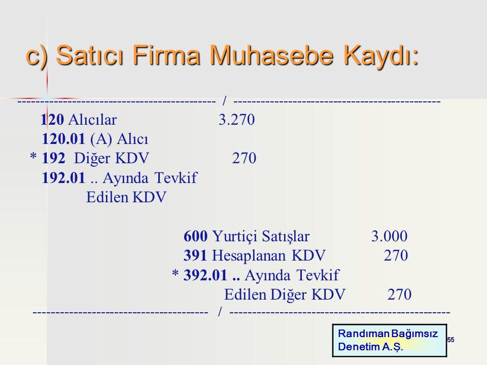 c) Satıcı Firma Muhasebe Kaydı: