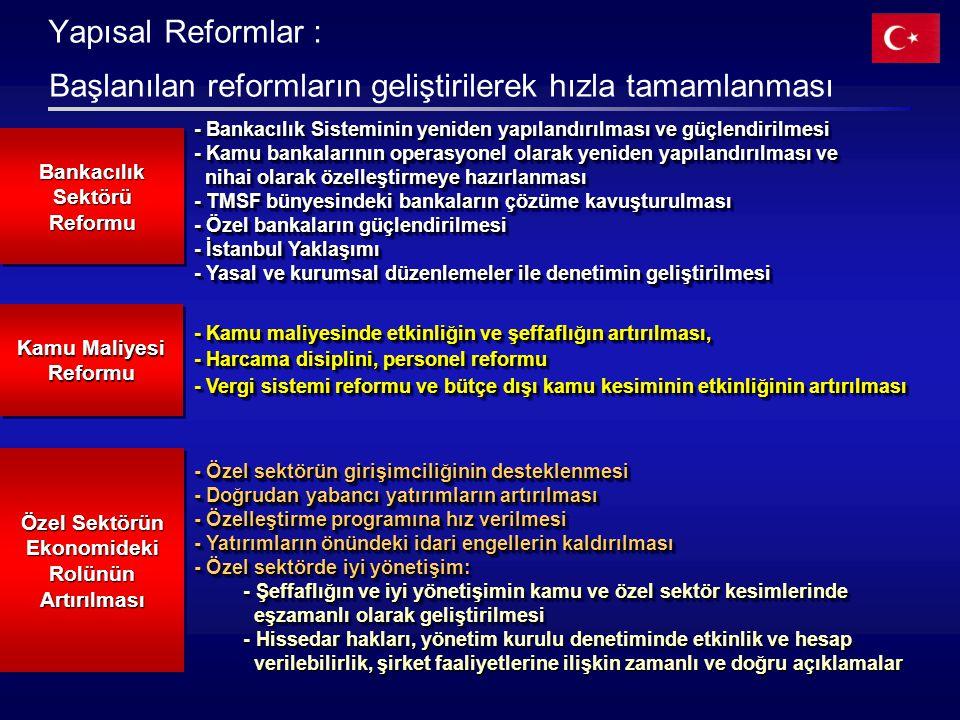 Başlanılan reformların geliştirilerek hızla tamamlanması