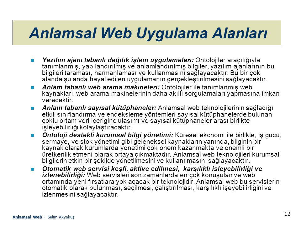 Anlamsal Web Uygulama Alanları
