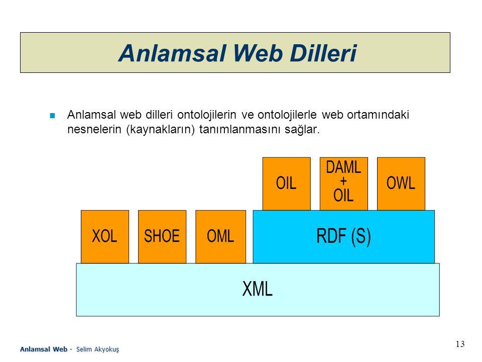 Anlamsal Web Dilleri Anlamsal web dilleri ontolojilerin ve ontolojilerle web ortamındaki nesnelerin (kaynakların) tanımlanmasını sağlar.