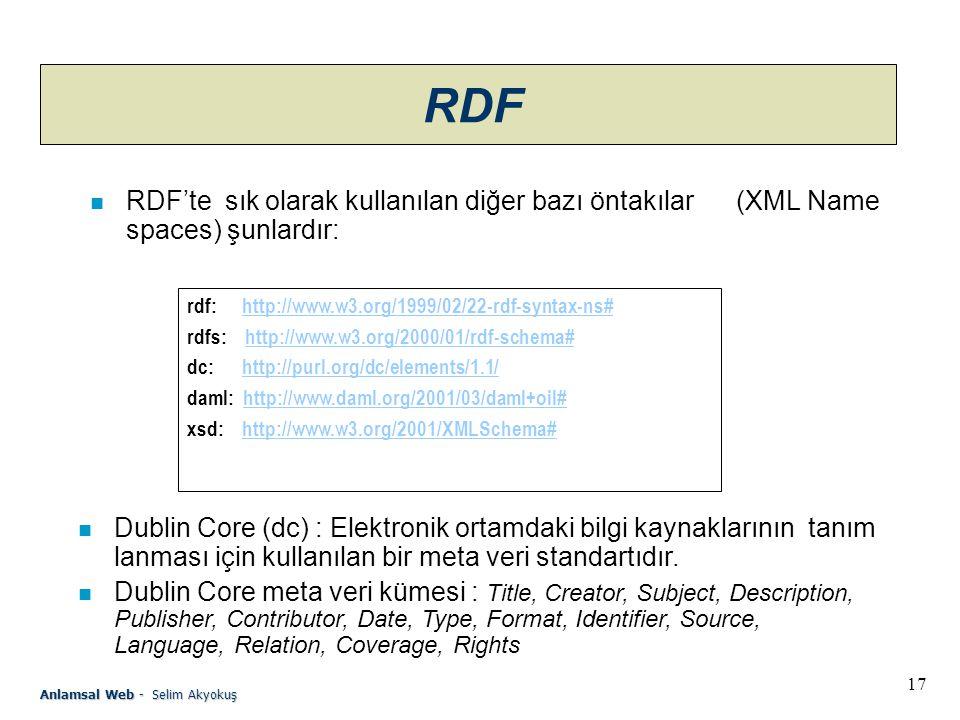 RDF RDF'te sık olarak kullanılan diğer bazı öntakılar (XML Namespaces) şunlardır: rdf: http://www.w3.org/1999/02/22-rdf-syntax-ns#