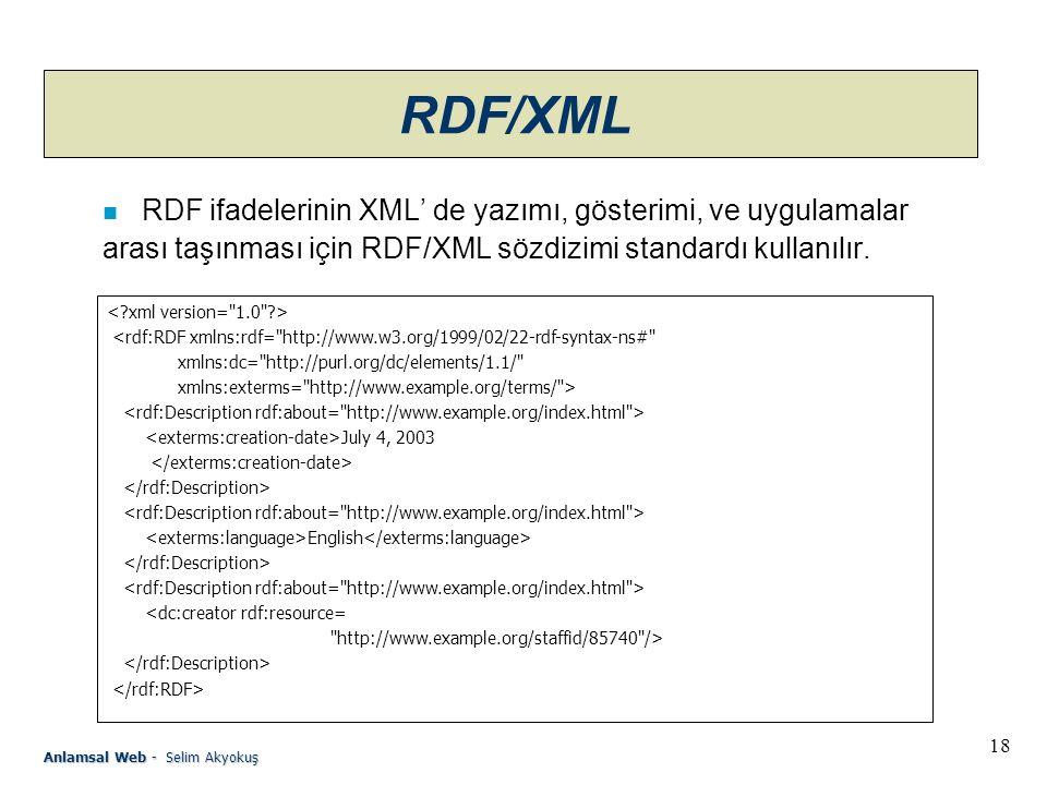 RDF/XML RDF ifadelerinin XML' de yazımı, gösterimi, ve uygulamalar