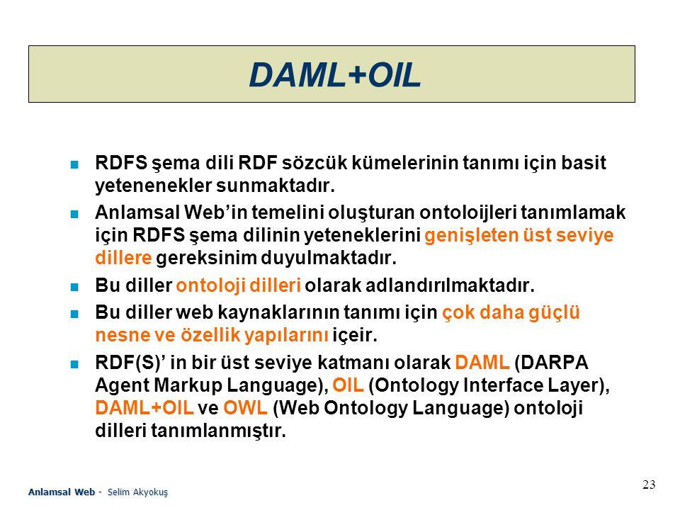 DAML+OIL RDFS şema dili RDF sözcük kümelerinin tanımı için basit yetenenekler sunmaktadır.