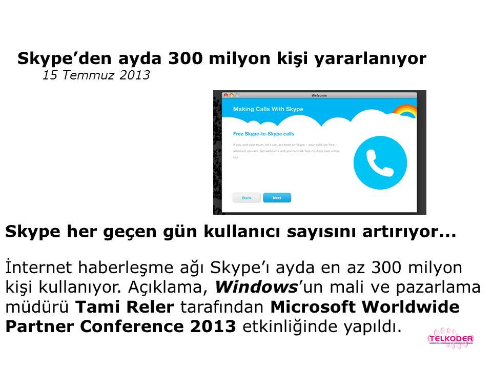 Skype'den ayda 300 milyon kişi yararlanıyor
