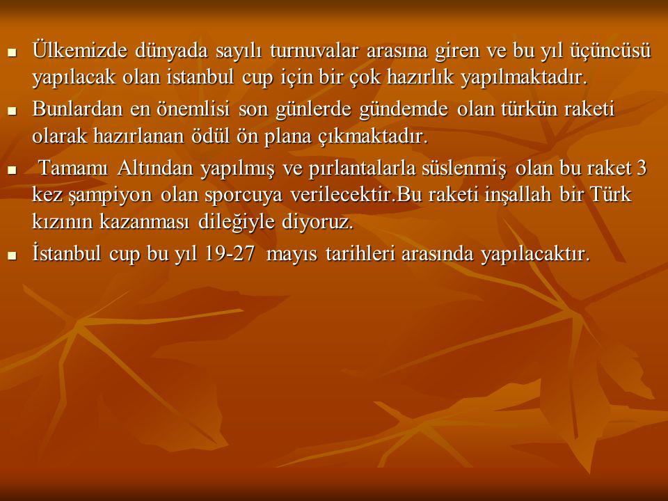 Ülkemizde dünyada sayılı turnuvalar arasına giren ve bu yıl üçüncüsü yapılacak olan istanbul cup için bir çok hazırlık yapılmaktadır.