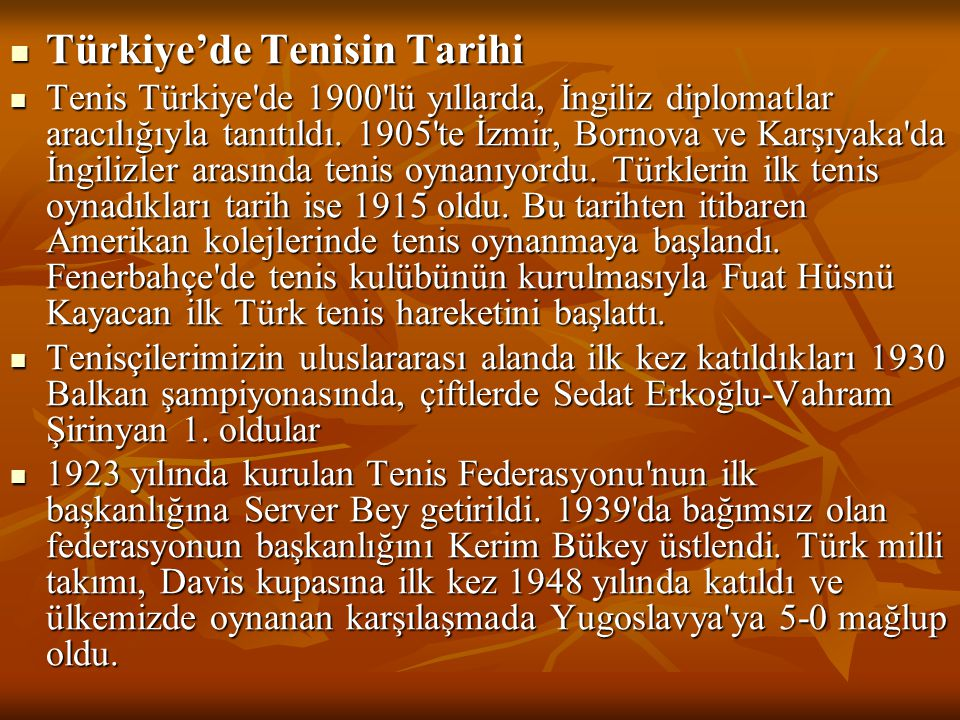 Türkiye'de Tenisin Tarihi
