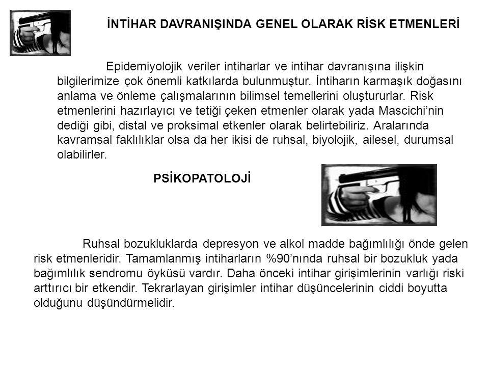 İNTİHAR DAVRANIŞINDA GENEL OLARAK RİSK ETMENLERİ