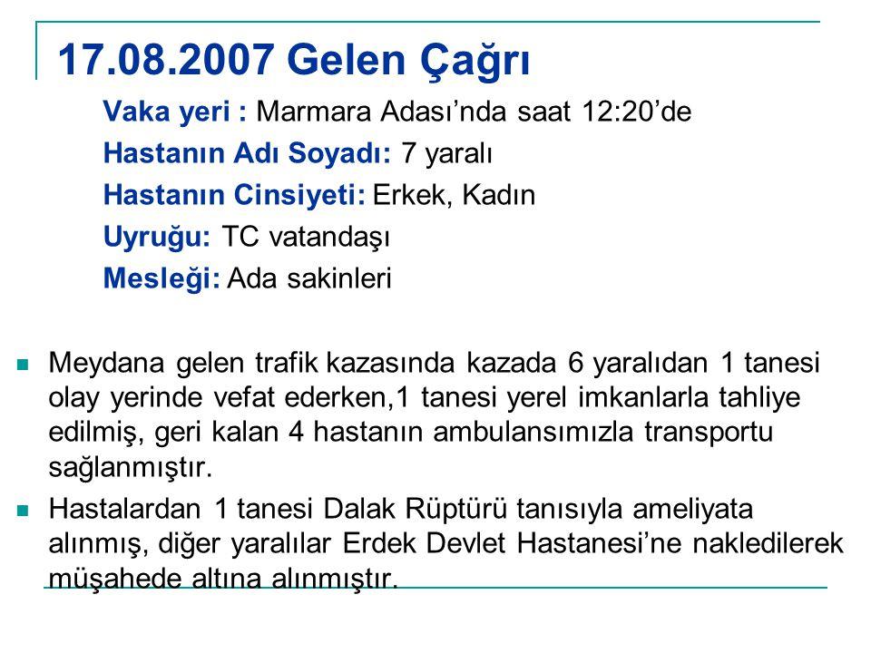 17.08.2007 Gelen Çağrı Vaka yeri : Marmara Adası'nda saat 12:20'de